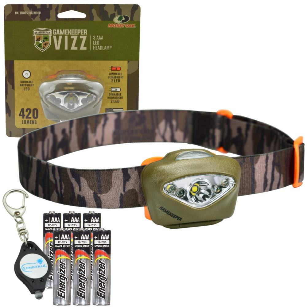 Princeton Tec Vizz Headlamp 420 Lumens Waterproof LED, Mossy Oak Gamekeepers Bundle with 3 Extra AAA Batteries and a Lumintrail Keychain Light