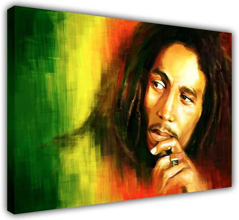 Canvas It Up - Cuadro en lienzo para pared tamaño grande del icono de la música Bob Marley, color verde amarillo rojo, lona, Green/Red/Yellow, 0- A4 - 8