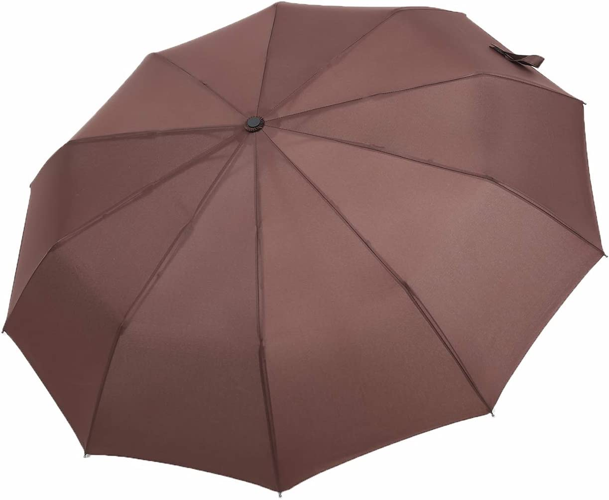 10 Ribs Fiberglass 46 Inch Travel Umbrella Fast Drying 210T Fabric Brown, Rubber Handle TenLeaf Automatic Folding Umbrellas Windproof