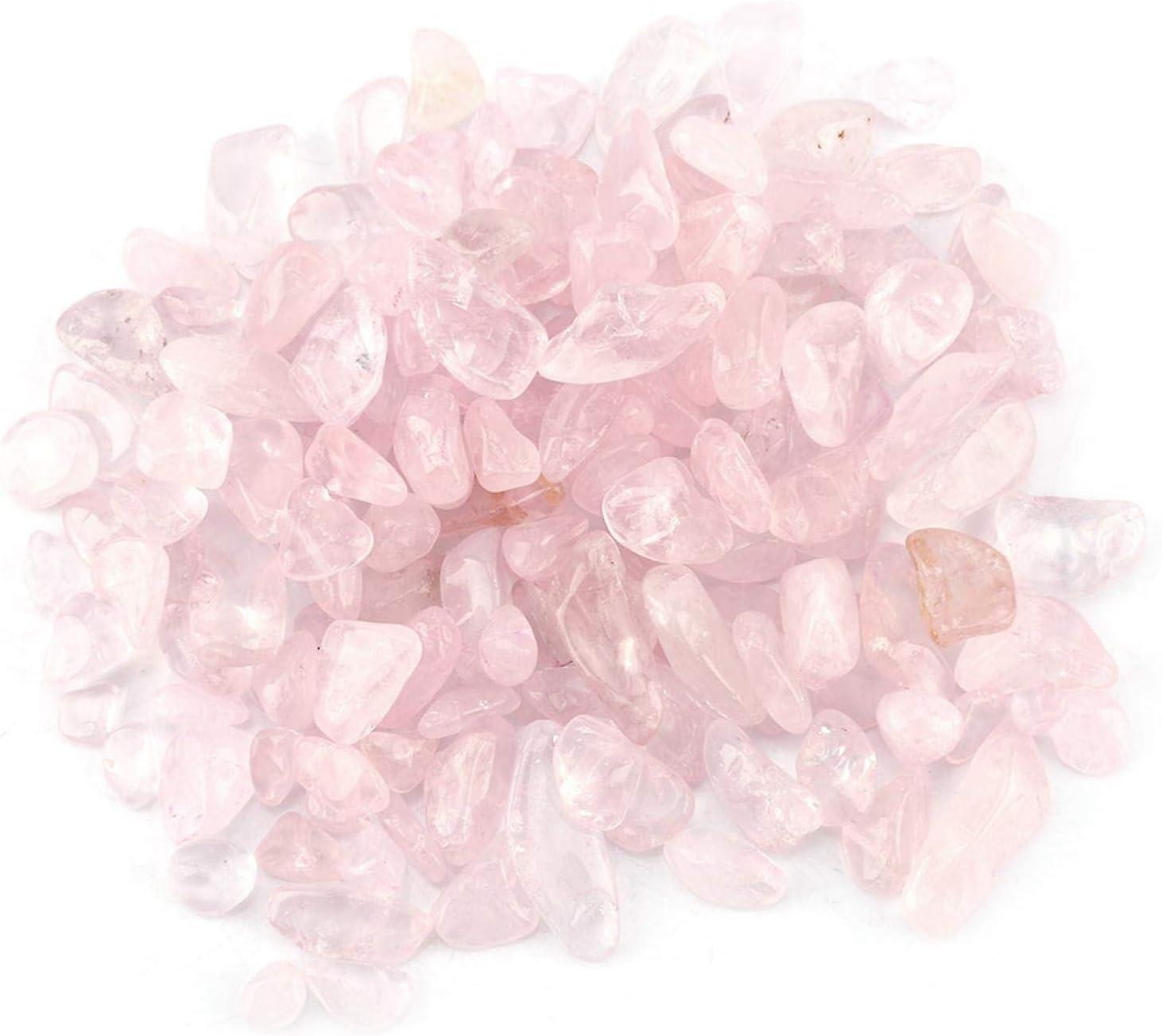 fuwinkr Piedras de Cuarzo Virutas caídas Piedra de Cristal de energía Piedra triturada Cristal Natural Piezas de Cuarzo Piedra triturada para pecera/macetas(Rosa)