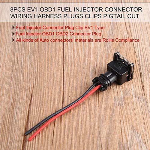8PCS Fuel Injector Quick Disconnect Pigtails Connector Plug Clip EV1 Type