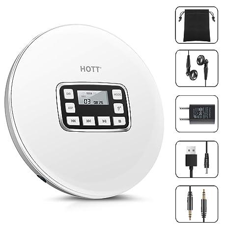 CD Player Tragbarer, HOTT Personal Compact Disc Player Mit Kopfhörern Und Netzteil, Compact Walkman Mit Elektronischer Skip P