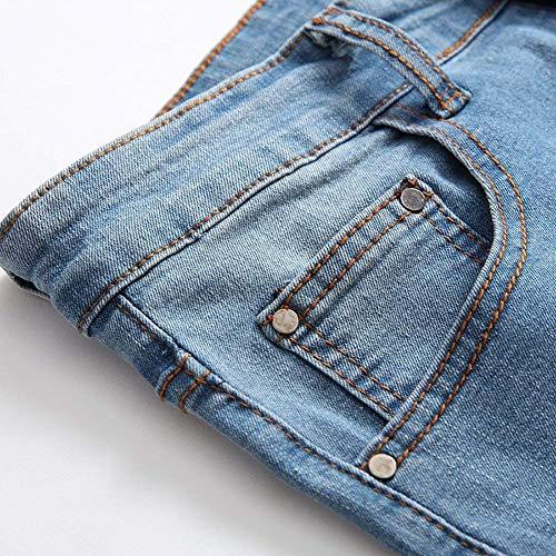 Casual Elasticizzati Holes Semplice Slim Strappati Vintage Denim Lanceyy Da Skinny Uomo Jeans Cher Pantaloni Fit Hellblau Stile EqIxwHZ1
