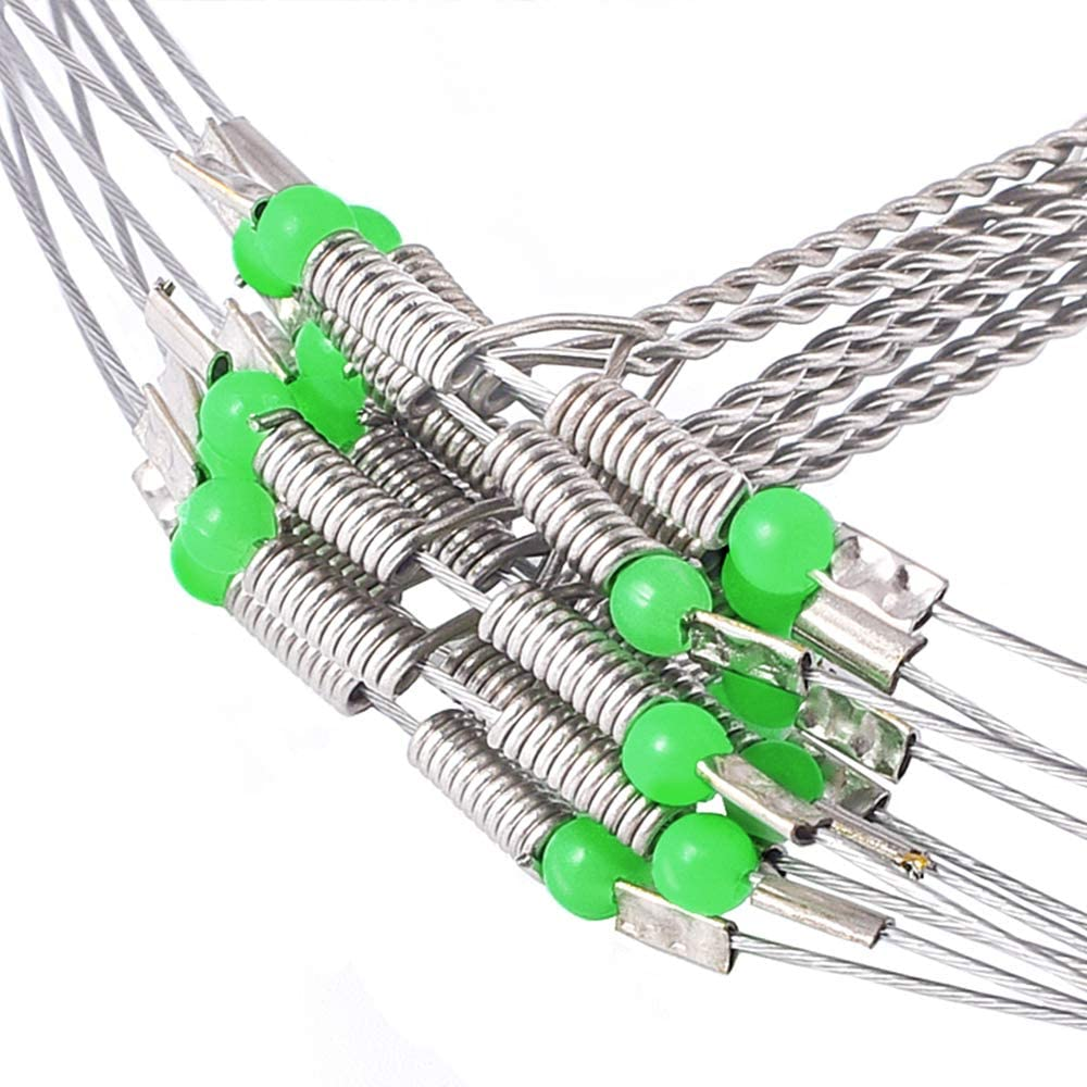 SETLUX Wire Trace Leader Rig Stainless Steel 2-4 Arms Fishing Rigs Tackle Lure Swivel Snaps Beads