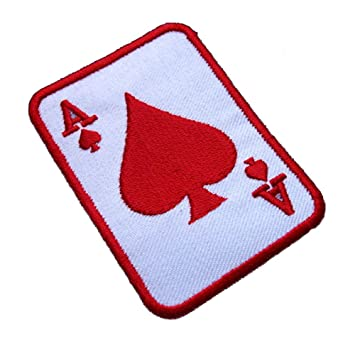 spade card red  Amazon.com: Poker Card Ace a Red Spade Embroidered Iron on Patch