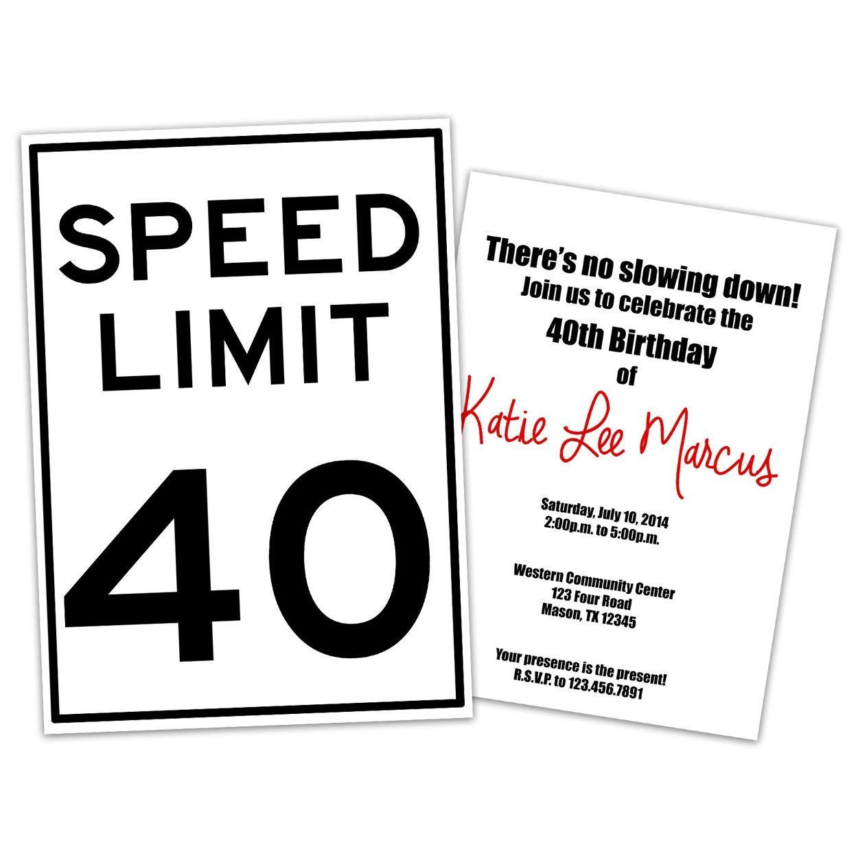 Amazon Funny Speed Limit Birthday Invitations Man Woman 30th 40th 50th 60th 70th 80th ANY Age Handmade