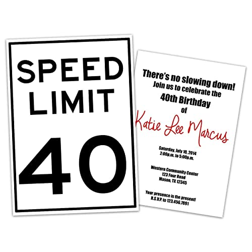 Image Unavailable Not Available For Color Funny Speed Limit Birthday Invitations Man Woman 30th