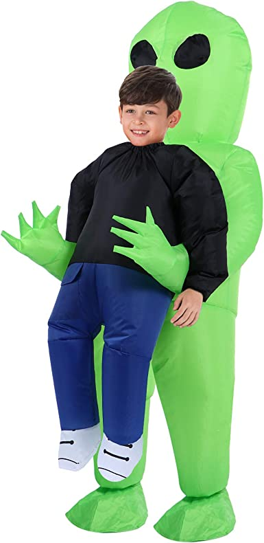 TOLOCO Inflatable Costume for Kid, Inflatable Alien Costume Kids, Alien Holding Person Costume, Halloween Blow up Costume