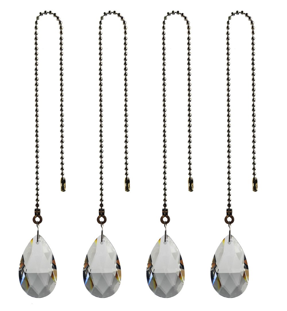 Hyamass 4pcs Crystal Teardrop Prisms Pendant Ceiling Fan Pull Chain Extender with Ball Chain Connector