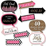 Funny Chic 40th Birthday - Pink, Black and Gold - Birthday Party Photo Booth Props Kit - 10 Count