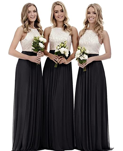 Amazon.com: XJLY - Vestido largo de gasa de encaje para dama ...