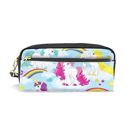 485b43a619 Amazon.com   PU Leather Heart Star Cloud Rainbow Unicorn Zipper ...