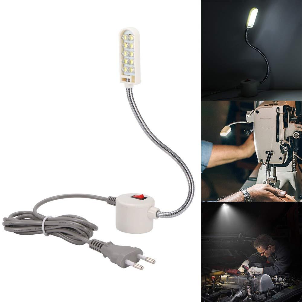 30 L/ámpara de cuello de cisne de trabajo con base de montaje magn/ética Iluminaci/ón de taller 10-LED luz de trabajo de cuello de cisne de 10 LED 20 LED Winbang Luz de m/áquina de coser