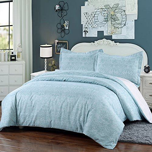 Simple&Opulence Polyester 3 Piece Light Blue Sweet Bedding King Queen Duvet Cover Set (Queen) (Light Blue Bedding)