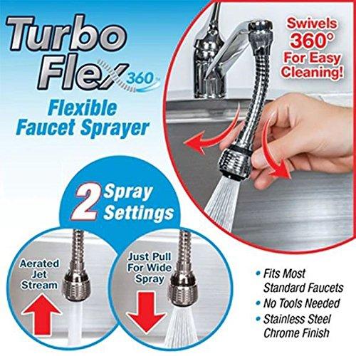 Saiyam Stainless Steel Turbo Flex 360 Sink Faucet Extension Part Sprayer Jet Stream or Spray (6-inch, Silver)
