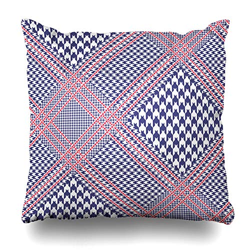 Ahawoso Throw Pillow Cover Check Blue Border Glen Plaid Pattern Nautical Palette Diagonal Red White Indigo Wales Navy Checker Decor Zippered Cushion Case 20