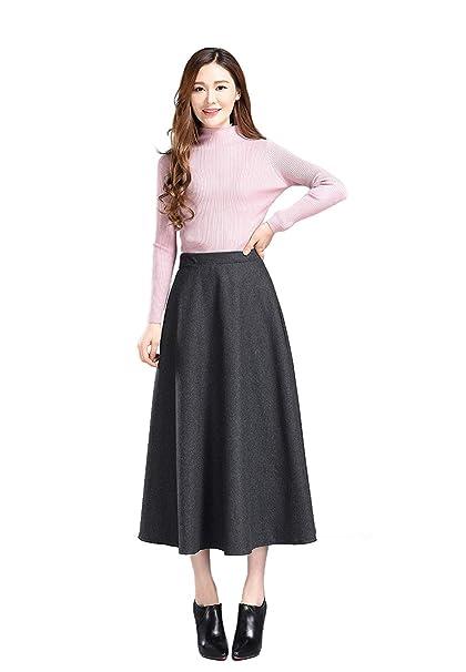 BININBOX Falda De Cintura Alta Falda Retra De Placa para Mujer ...