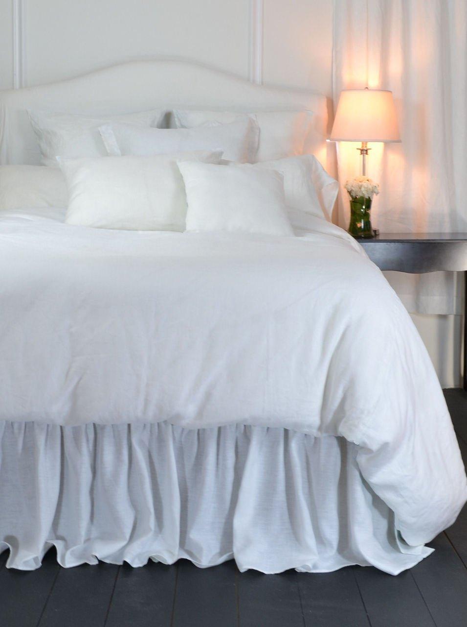 Custom Long Linen Linen Ruffled Bedskirt White Linen Bedskirt King 20'' Drop by La Mode Couture