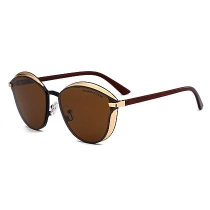 9e7c0418fe DRAGON CHARM Fashion Cat Eye Sunglasses for Women Color Mirrored Retro Stylish  Brown Lens Golden Frame