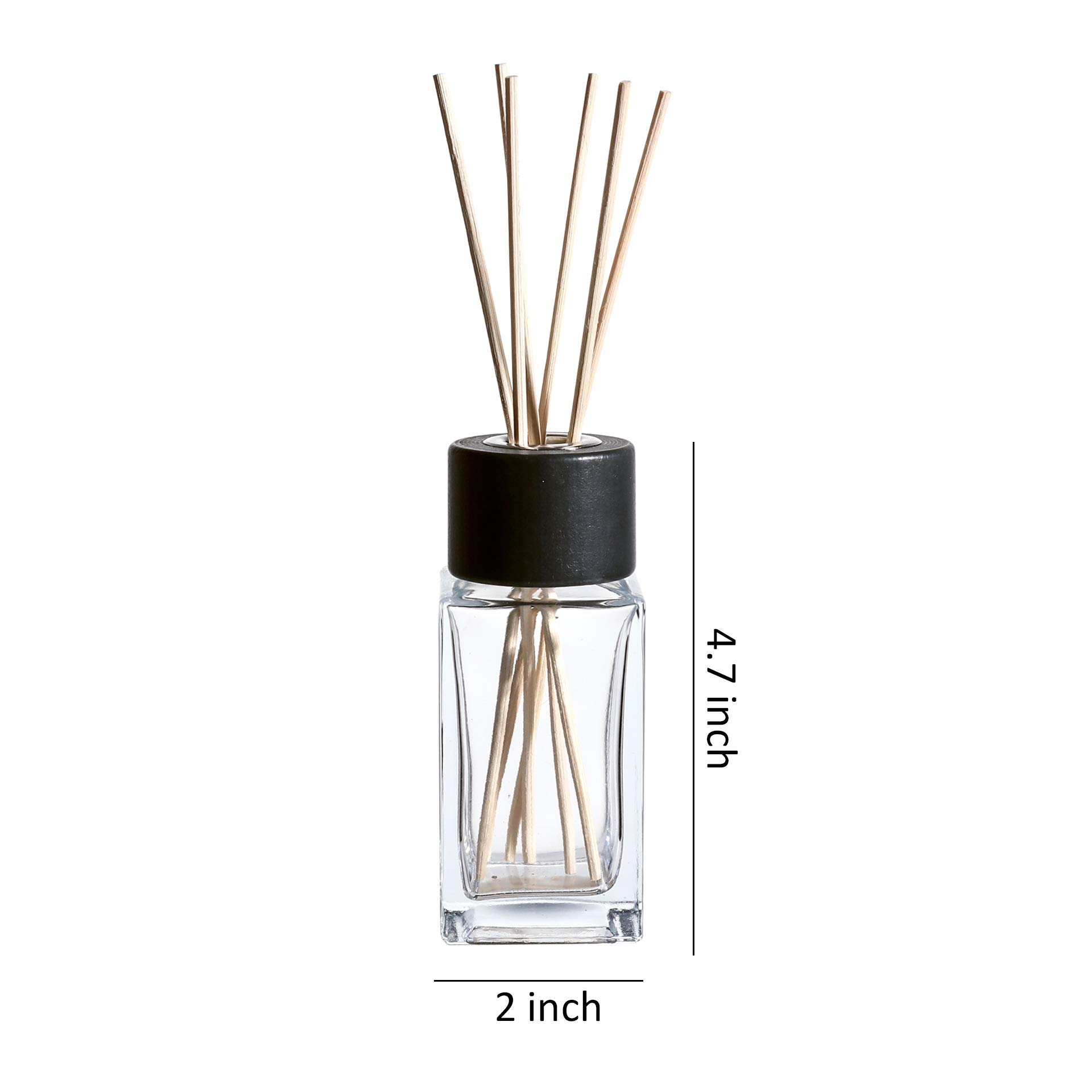 Whole Housewares 100ML 3.4Ounce Clear Glass Diffuser Bottles with 24pcs Natural Reed Sticks, 4.7'' H Square Diffuser Bottle with Black Wood Caps, Set of 4 by Whole Housewares (Image #2)