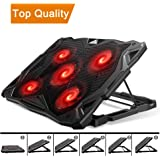 Pccooler Laptop Cooling Pad, Laptop Cooler with 5 Quiet Red LED Fans for 12-17.3 Inch Laptop, Dual USB 2.0 Ports, Portable 6