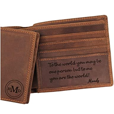 Custom Monogrammed Leather Wallet For Dad Engraved FOR Personalized Gifts