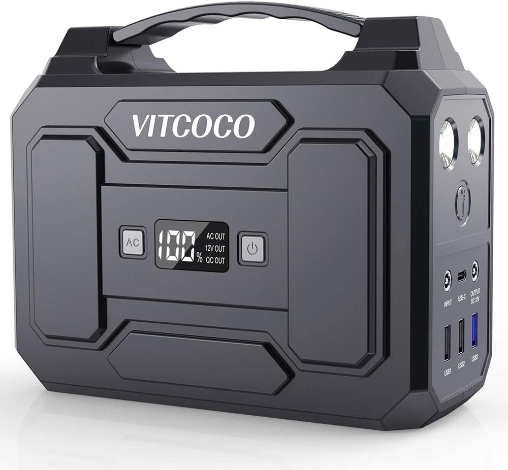 Power Station Generator VITCOCO 167Wh 100W [Peak 120W] Portable Power Station for Camping Generators for Home Use 45000mAh with 110V AC 12V DC QC3.0 USB LED Flashlight for Home Travel Emergency
