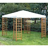 Outsunny 10'x10' Wood Frame Patio Gazebo Canopy Party Tent Garden Outdoor Yard Beige and Teak
