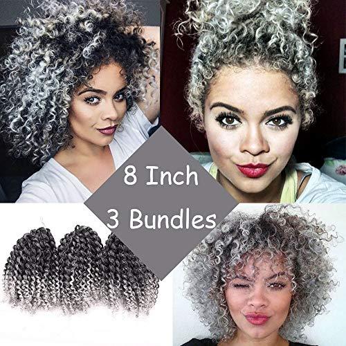 Silike Marlybob Kinky Curl Ombre Crochet Braiding Hair (3 Bundles/pack) 8'' Water Wave Crochet Hair Extensions For Women (T 1B/Grey) ()