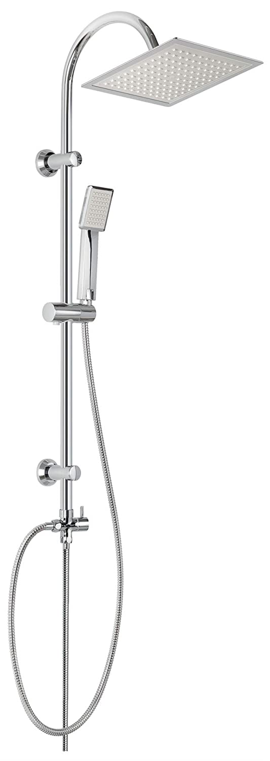 Chrome Plated Stainless Steel Shower Bathroom Set Column with Square Rainfall Invena