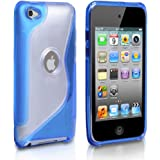 Yousave Accessories TM Stylish Blue S-Line Silicone Gel Grip Case Cover For The Apple iPod Touch 4 4G 4th Generation With Screen Protector