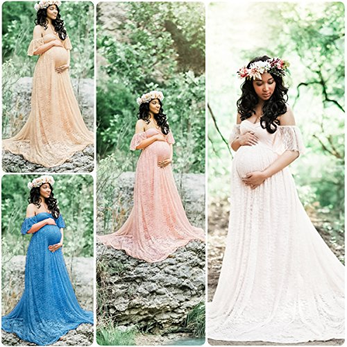 0bdc779010 Elegant Photography Maternity Wrap Dress Women Pregnant Dress Floral Lace  Off Shoulder Ruffle Sleeve Maxi Trailing Long Dress for Photo Shoot Wedding  ...