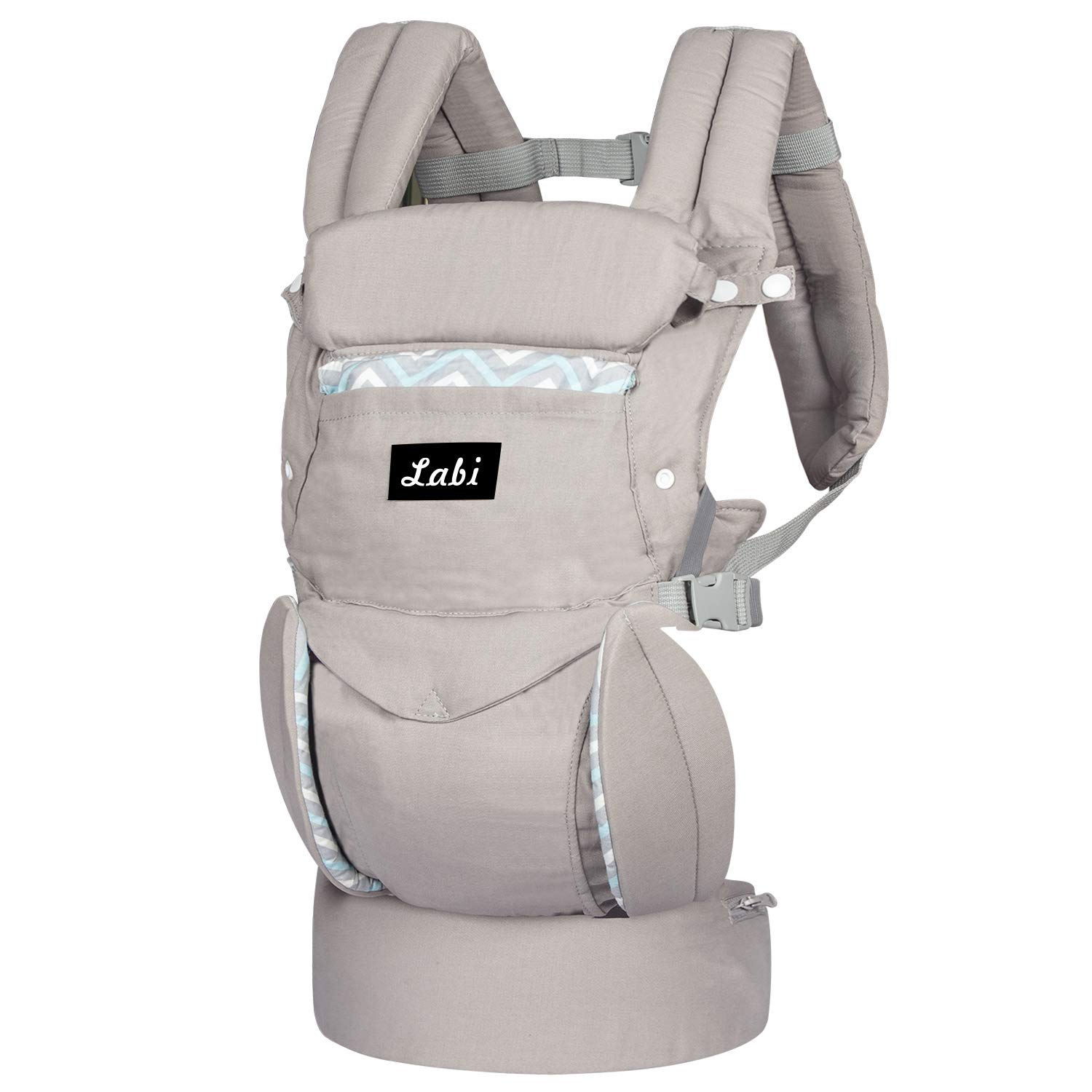 Labi Premium Cotton Baby Carrier with Adjustable Bucket Seat, Ergonomic All Position Baby Backpack with Tuckaway Hood, One of The Most Comfortable Baby Carrier Wrap for Infant Toddler, Grey