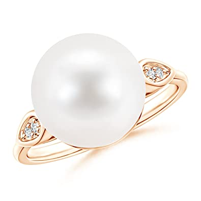 Angara Freshwater Cultured Pearl Ring with Diamond Pear Motifs HkNyszm