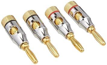 Ocelot Banana Plugs, conectores bañados en oro de 24 K, abierto tipo tornillo,