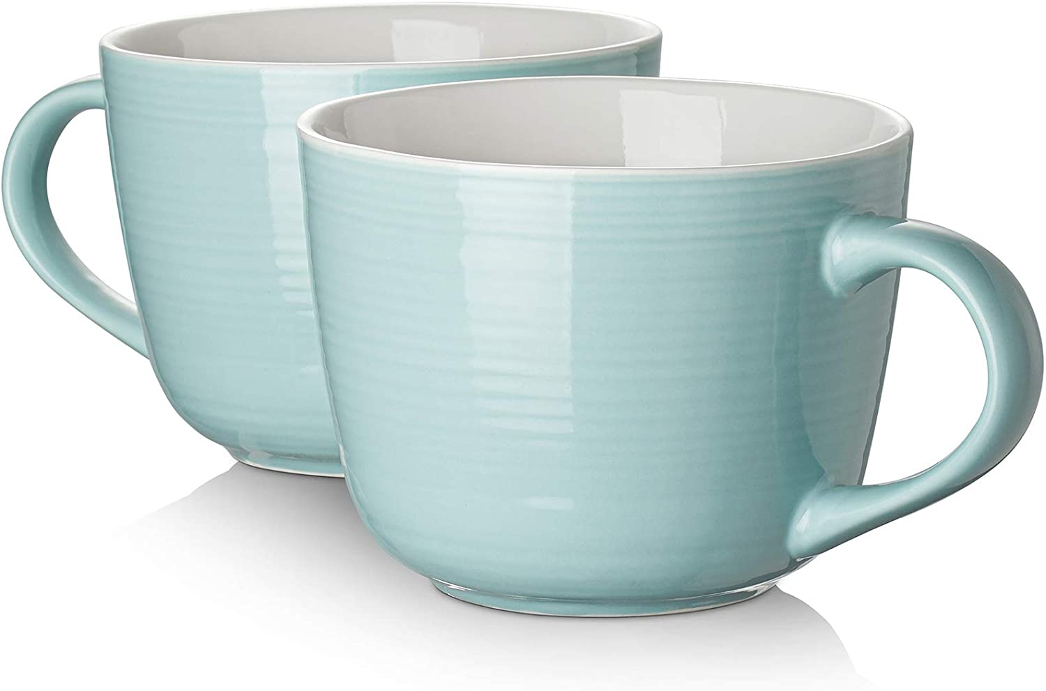 Amazon Com Dowan Porcelain Large Coffee Mug With Handle Set Of 2 17 Ounces Microwave And Dishwasher Safe Wide Mug For Cappuccino Latte Coffee Soup Tea Cereal Ice Cream Turquoise Coffee