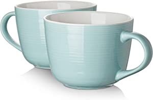 DOWAN Porcelain Large Coffee Mug Set of 2-17 Ounces Microwave Safe and Oven Safe Wide Mug for Cappuccino, Latte Coffee, Soup, Tea, Cereal, Ice Cream, Turquoise