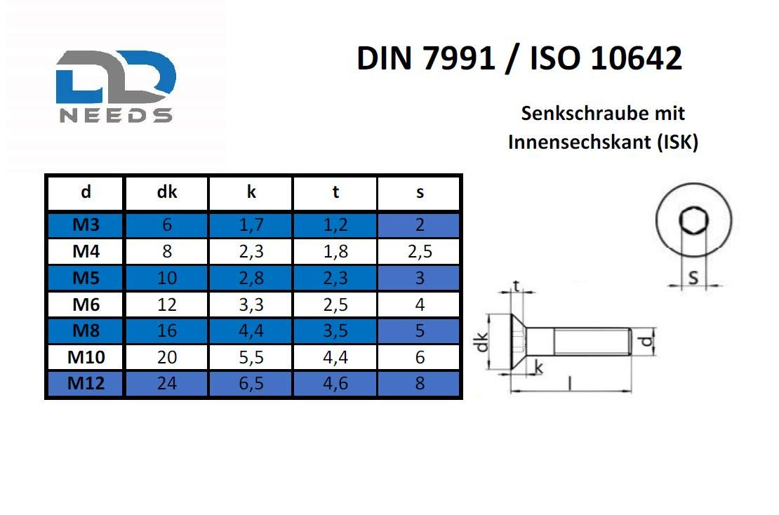DIN 7991 // ISO 10642 ISK Senkschrauben mit Innensechskant D2D M6x50 aus rostfreiem Edelstahl A2 V2A VPE: 20 St/ück Senkkopfschrauben