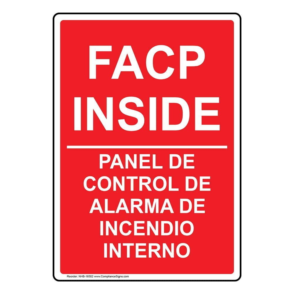 FACP Inside Bilingual Safety Sign, 14x10 inch Aluminum for ...