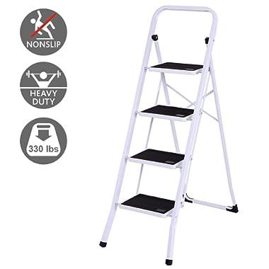 Giantex 4 Folding Step Ladder Steel Step Stool W/Anti-Slip Wide Pedal Convenient Handgrip X-Shaped Frame Stepladder 330Lbs Capacity