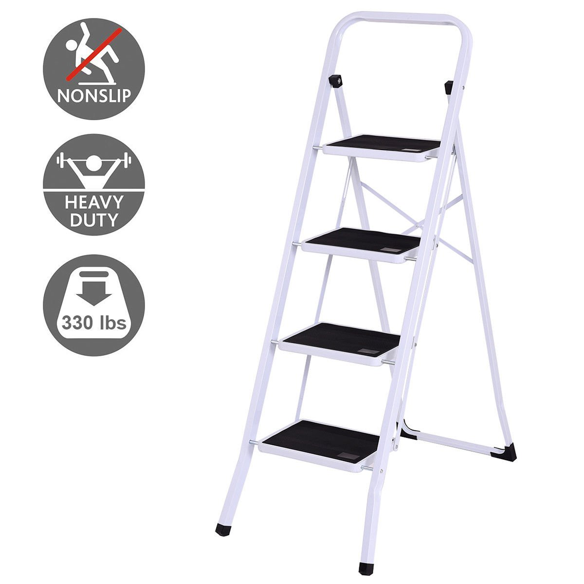 Giantex 4 Step Ladder Folding Steel Step Stool Steel Stepladders with Anti-Slip Heavy Duty with 330Lbs Capacity