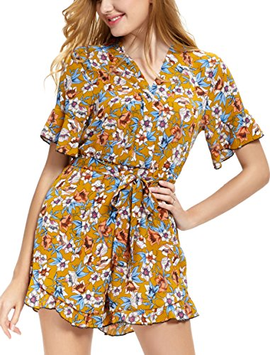 Abollria Casual Romper Jumpsuit Shorts for Women Short Sleeve V Neck Floral Print Tie Waist Summer Beachwear - Floral Print Tie Waist Top