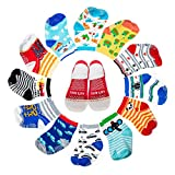 Yimaler 12-Pack Anti-Slip Cotton Baby Socks Cute Animal Printed Ankle Socks with Grip for 12-36 Months Kids Soft Cartoon Socks for Toddler Boys & Girls …