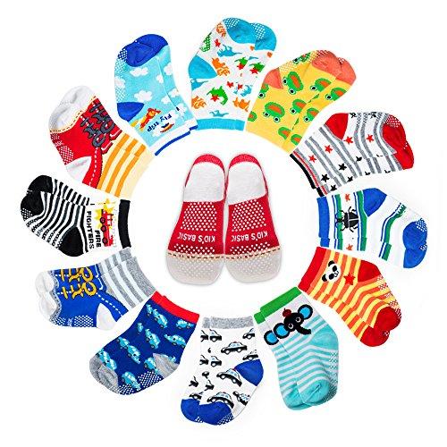 Yimaler 12-Pack Anti-Slip Cotton Baby Socks Cute Animal Printed Ankle Socks with Grip for 12-36 Months Kids Soft Cartoon Socks for Toddler Boys & Girls … - Hearts Socks Beaded