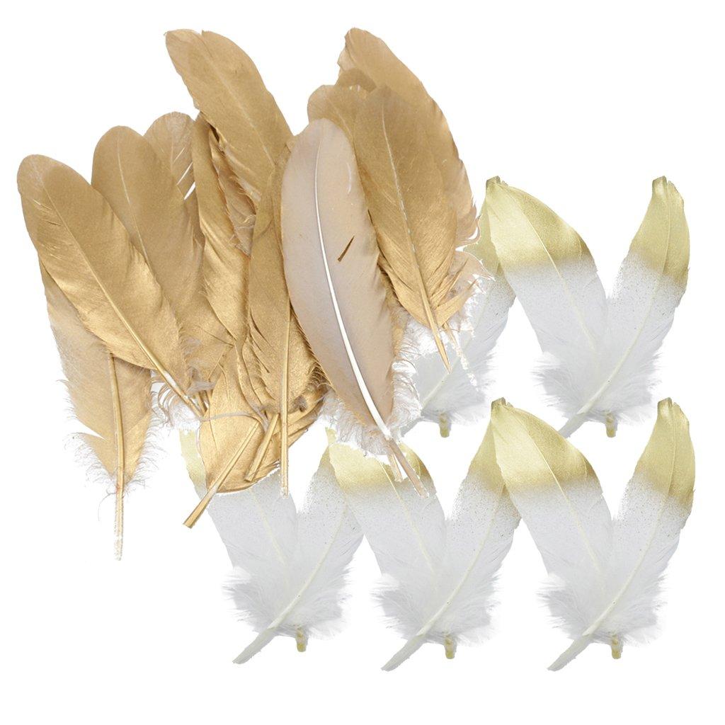 MagiDeal 24 Pezzi Naturale Oca Piuma Rifiniture a Frangia Accessori di Creativita Bianco e Oro