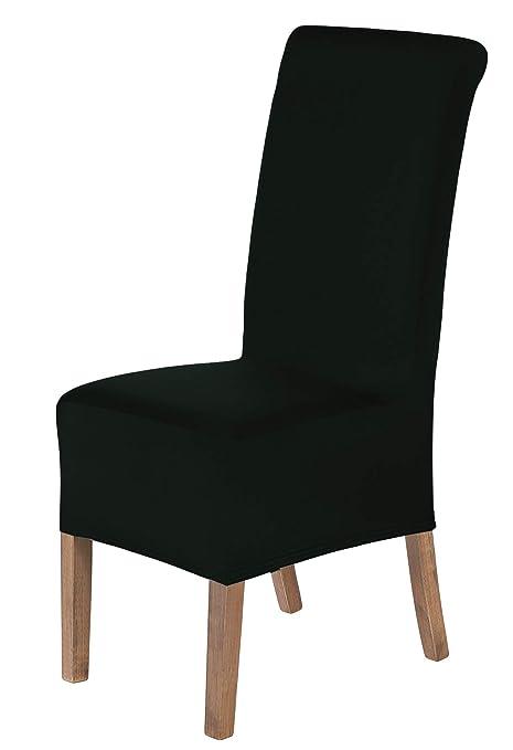 SCHEFFLER-Home Lena 2 Fundas de sillas, Estirable Cubiertas, Moderna extraíble flexibel Funda con Banda elástica, Negro