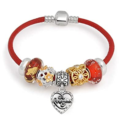 b40da61c9 Amazon.com: Grandma Family Heart Love Multi Themed Bead Charm Red Leather  Bracelet 925 Sterling Silver For Women Barrel Clasp: Charm Bracelets:  Jewelry