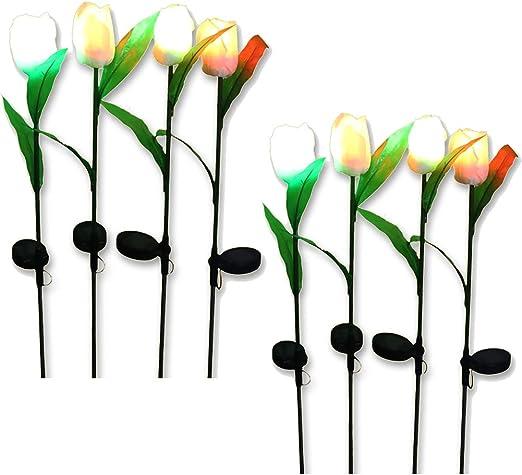 Douup Juego De 8 Luces Decorativas Solares para Estacas De Jardín, 8 Tulip Tulips, Traje De Iluminación para Jardín, Patio, Patio Trasero, Luces Solares Exteriores: Amazon.es: Hogar
