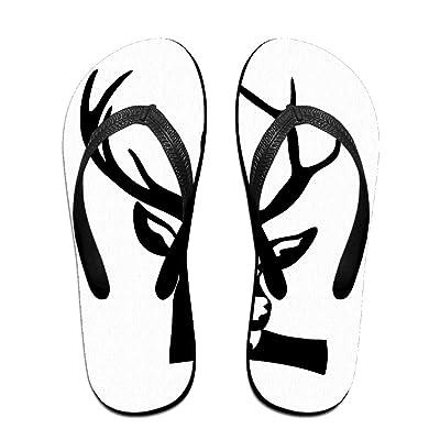 Creative Deer Head Animal Funny Logo Unisex Fashion Beach Flip Flops Sandals Slippers Sandal For Home & Beach