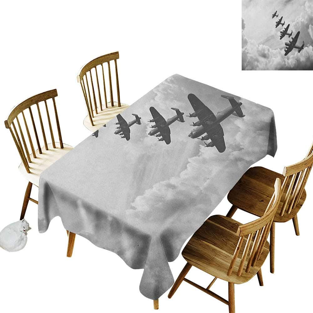 kangkaishi Waterproof Anti-Wrinkle no Pollution Long Tablecloth Retro Image of Lancaster Bomber Jets from Battle Royal Air Force in Clouds Plane W60 x L126 Inch Black White by kangkaishi